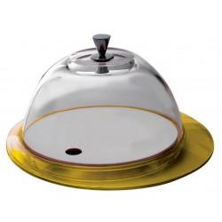 GLAMOUR patera ze szklaną pokrywą żółta
