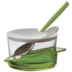 GLAMOUR cukiernica z łyżeczką zielona