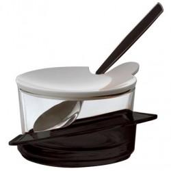 GLAMOUR cukiernica z łyżeczką czarna
