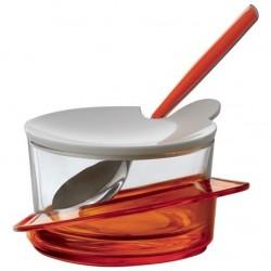 GLAMOUR cukiernica z łyżeczką pomarańczowa