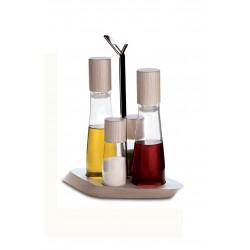 Trattoria 4 częściowy zestaw olej, ocet, sól i pieprz